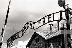 Auschwitz, Poland - August 20 2010:Gates to  Auschwitz concentration camp during World War II, Poland